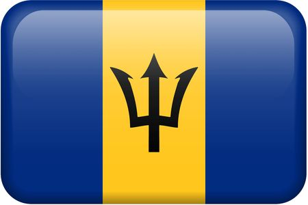 Barbadian flag rectangular button.  Part of set of country flags all in 2:3 proportion with accurate design and colors.