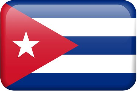 cuban flag: Cuban flag rectangular button.  Part of set of country flags all in 2:3 proportion with accurate design and colors.