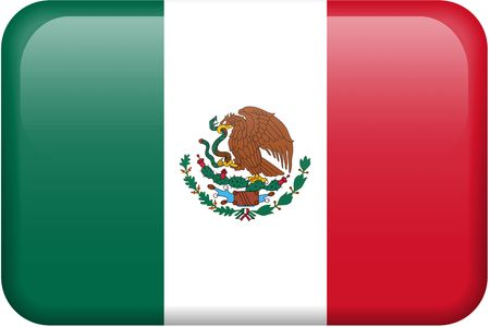 bandera de mexico: Bot�n rectangular de la bandera mexicana. Parte del sistema de las banderas todo del pa�s en la proporci�n de 2:3 con dise�o y colores exactos. Foto de archivo