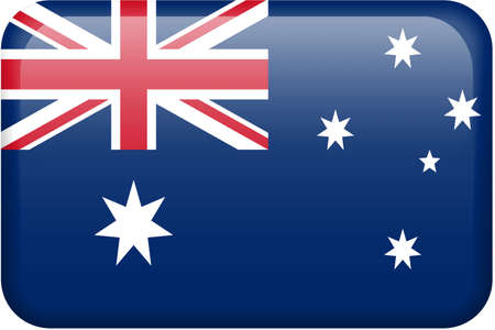 Australian flag rectangular button.  Part of set of country flags all in 2:3 proportion with accurate design and colors. Stock Photo