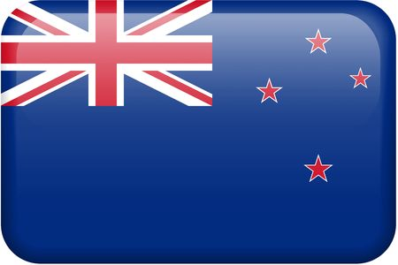 all in: New Zealand flag rectangular button.  Part of set of country flags all in 2:3 proportion with accurate design and colors.
