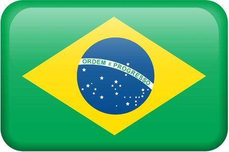 all in: Bandera brasile�a bot�n rectangular. Una parte del conjunto de banderas de todos los pa�ses en proporci�n 2:3 con precisi�n el dise�o y colores.  Foto de archivo