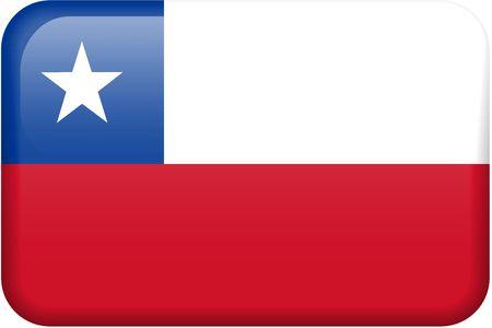 bandera chilena: Chile bandera rectangular bot�n. Una parte del conjunto de banderas de todos los pa�ses en proporci�n 2:3 con precisi�n el dise�o y colores.  Foto de archivo