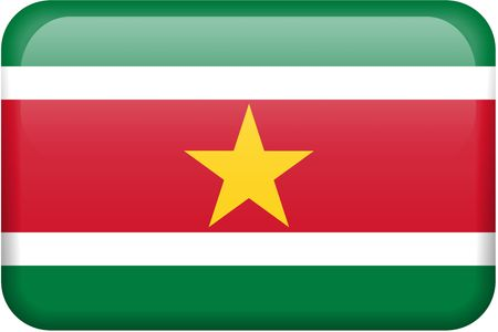 all in: Surinamese flag rectangular button.  Part of set of country flags all in 2:3 proportion with accurate design and colors.