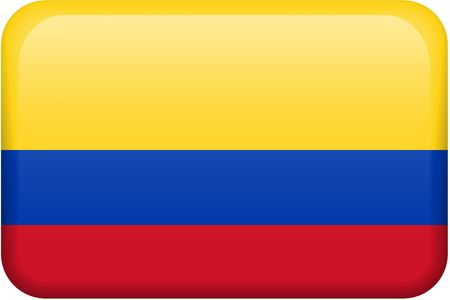 all in: Colombian flag rectangular button.  Part of set of country flags all in 2:3 proportion with accurate design and colors. Stock Photo