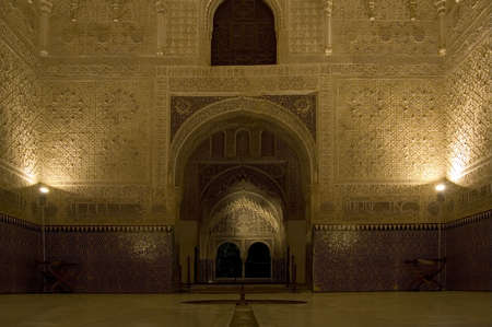Night view of Comares Hall in the Alhambra in Granada, Spain.