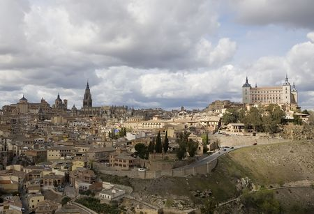 toledo: View of Toledo, Spain including Alcazar and the cathedral.