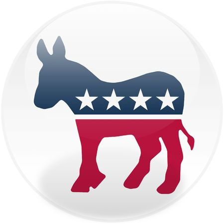 politic: Glossy democratic party logo on a round button