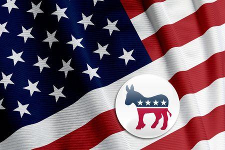 Democrat round button on an American flag