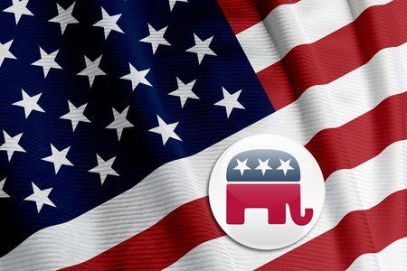 republican: Republicano bot�n redondo en una bandera americana