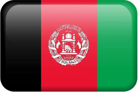 afghan flag: Afghan flag rectangular button.  Part of set of country flags all in 2:3 proportion with accurate design and colors. Stock Photo