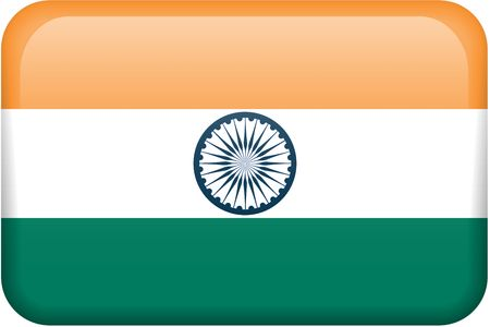 button: Indian flag rectangular button.  Part of set of country flags all in 2:3 proportion with accurate design and colors. Stock Photo