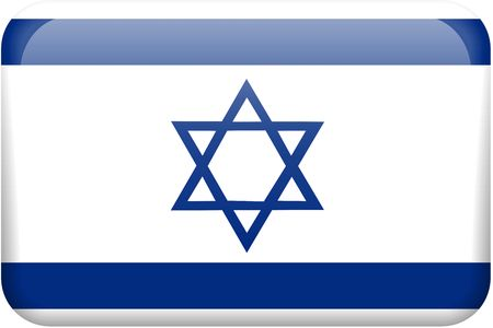 button: Israeli flag rectangular button.  Part of set of country flags all in 2:3 proportion with accurate design and colors. Stock Photo