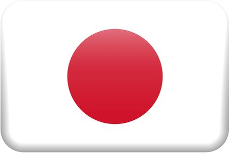 emboss: Japanese flag rectangular button.  Part of set of country flags all in 2:3 proportion with accurate design and colors.