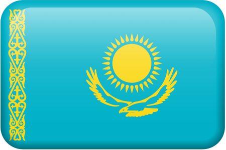 all in: Kazakhstani bandera rectangular bot�n. Una parte del conjunto de banderas de todos los pa�ses en proporci�n 2:3 con precisi�n el dise�o y colores.