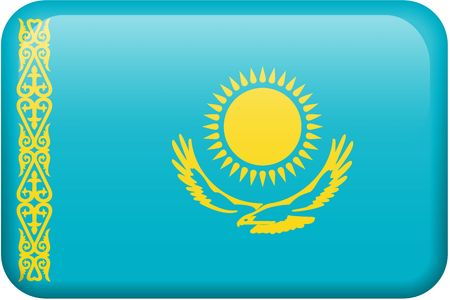 all in: Kazakhstani flag rectangular button.  Part of set of country flags all in 2:3 proportion with accurate design and colors. Stock Photo