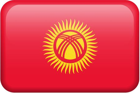 Kyrgyz flag rectangular button.  Part of set of country flags all in 2:3 proportion with accurate design and colors. Stock Photo - 2795306
