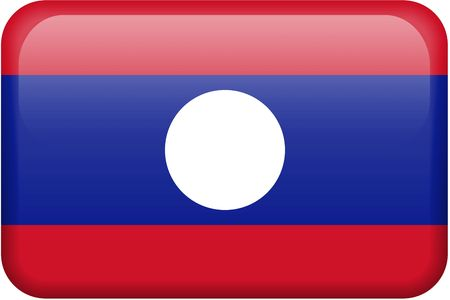 lao: Lao flag rectangular button.  Part of set of country flags all in 2:3 proportion with accurate design and colors. Stock Photo