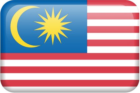 all in: Malaysian flag rectangular button.  Part of set of country flags all in 2:3 proportion with accurate design and colors.