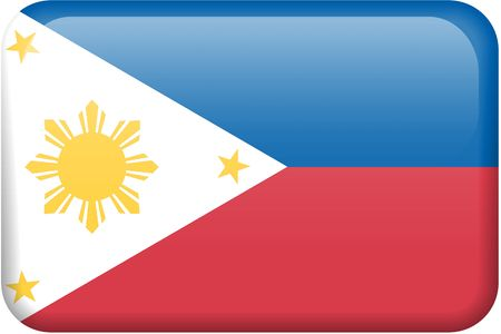 button: Philippine flag rectangular button.  Part of set of country flags all in 2:3 proportion with accurate design and colors.