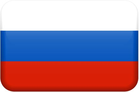 rectangular: Russian flag rectangular button.  Part of set of country flags all in 2:3 proportion with accurate design and colors.