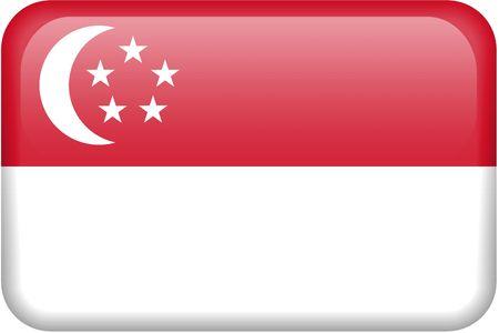 all in: Singapur bandera rectangular bot�n. Una parte del conjunto de banderas de todos los pa�ses en proporci�n 2:3 con precisi�n el dise�o y colores.