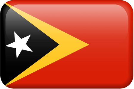 Timor-Leste flag rectangular button.  Part of set of country flags all in 2:3 proportion with accurate design and colors. photo
