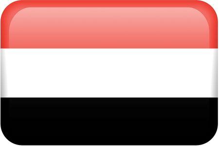 Rep�blica de Yemen bandera rectangular bot�n. Una parte del conjunto de banderas de todos los pa�ses en proporci�n 2:3 con precisi�n el dise�o y colores.  Foto de archivo - 2806880