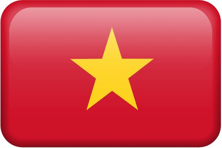 button: Vietnamese flag rectangular button.  Part of set of country flags all in 2:3 proportion with accurate design and colors.