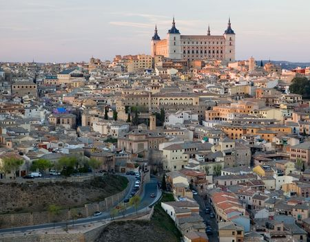 View of Toledo, Spain including the Alcazar. Stock Photo