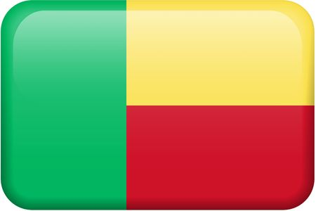 Beninese flag rectangular button.  Part of set of country flags all in 2:3 proportion with accurate design and colors. photo