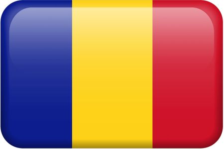 chadian: Chadian flag rectangular button.  Part of set of country flags all in 2:3 proportion with accurate design and colors.