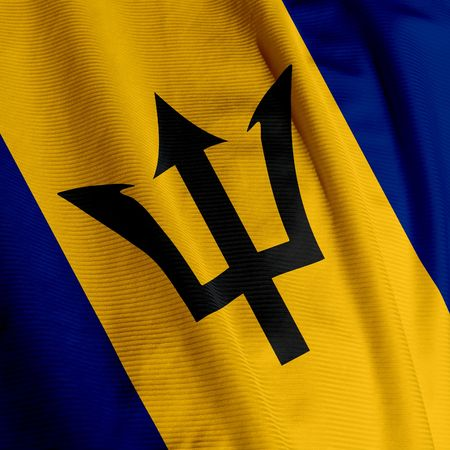 barbadian: Close up of the Barbadian flag, square image Stock Photo