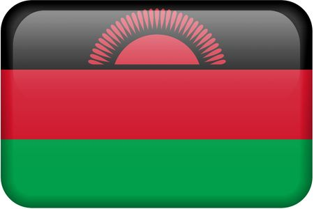 malawian: Malawian flag rectangular button.  Part of set of country flags all in 2:3 proportion with accurate design and colors. Stock Photo
