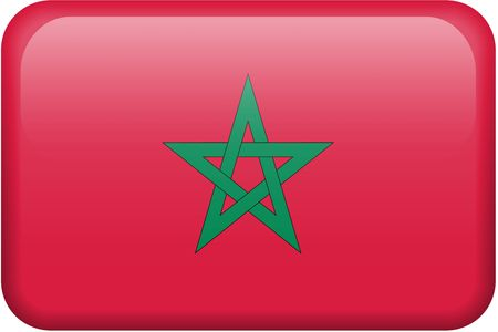 button: Moroccan flag rectangular button.  Part of set of country flags all in 2:3 proportion with accurate design and colors. Stock Photo
