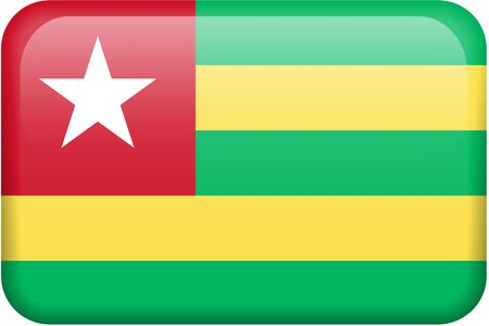 Togolese flag rectangular button.  Part of set of country flags all in 2:3 proportion with accurate design and colors. photo