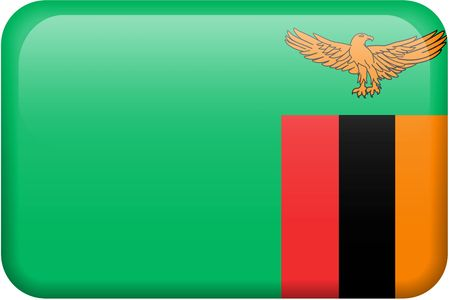zambian: Zambian flag rectangular button.  Part of set of country flags all in 2:3 proportion with accurate design and colors.