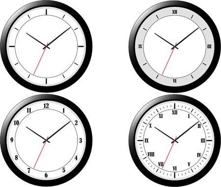 customisation: Vector illustration of four clocks of varying styles.  Elements grouped for easy customisation.