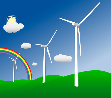 climate change: Vector illustration of wind turbines standing in a field with a rainbow in the background.
