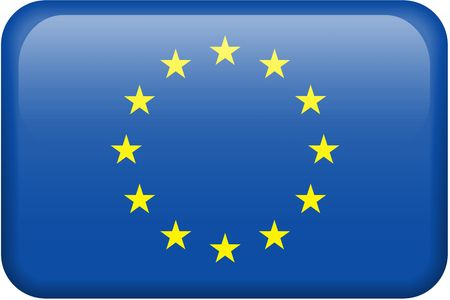 all european flags: European Union flag rectangular button.  Part of set of flags all in 2:3 proportion with accurate design and colors. Stock Photo