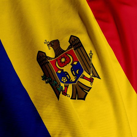 Close up of the flag of Moldova, square image photo