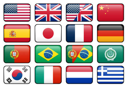 japanese flag: Set of rectangular flag buttons representing some of the most popularly used languages. Stock Photo