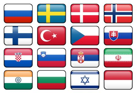 rectangular: Set of rectangular flag buttons representing some of the most popularly used languages. Stock Photo