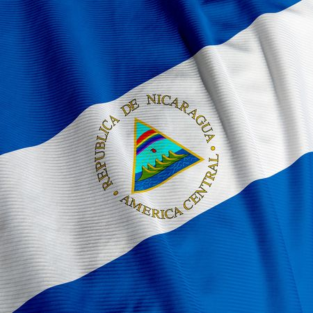 nicaraguan: Close up of the flag of Nicaragua, square image Stock Photo