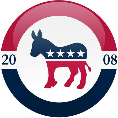 Election themed round button with 3d effect, Democratic party logo - clipping path included Editorial