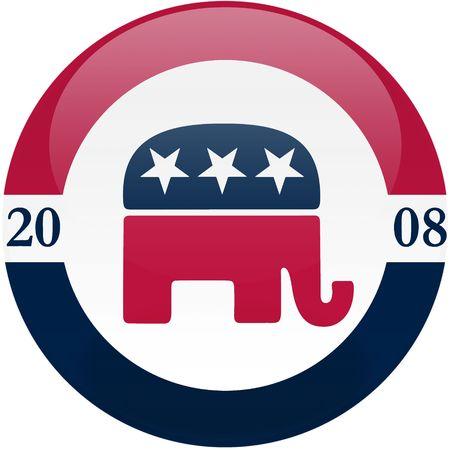republican: Elecci�n tema bot�n redondo con efecto 3D, partido Republicano logotipo - incluido el recorte camino