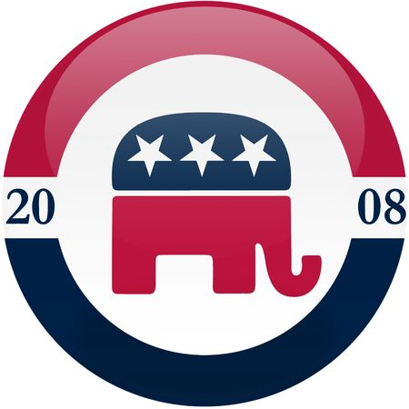 republican party: Election themed round button with 3d effect, Republican party logo - clipping path included Editorial