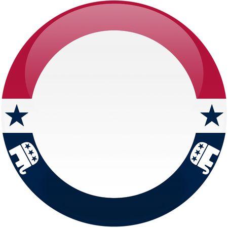 republican: Elecci�n tema bot�n redondo con efecto 3D, logotipos partido Republicano - incluido el recorte camino