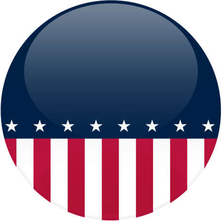 Election themed round button with 3d effect, American flag with copy space - clipping path included Stock Photo