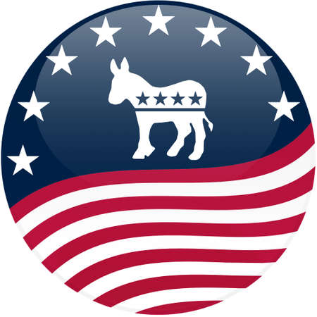 democrat party: Election themed round button with 3d effect, Democrat logo with waving American flag - clipping path included Editorial